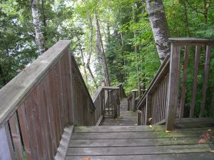 Staircase from cabin to lake