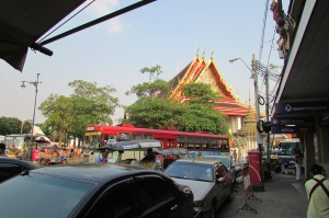 A typical street scene outside the Grand Palace in central Bangkok