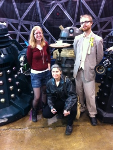 Me, Ninth Doctor, and Fifth Doctor. Photo by a kind Doctor Who Society of Canada volunteer.